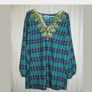 L Mudpie Print Gold Embroidered Tunic Top